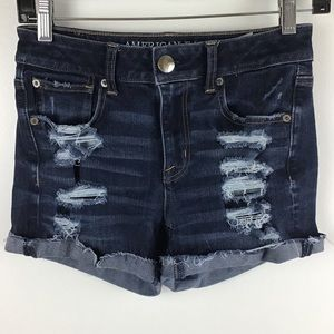 American Eagle | Hi-Rise Shortie Distressed Shorts